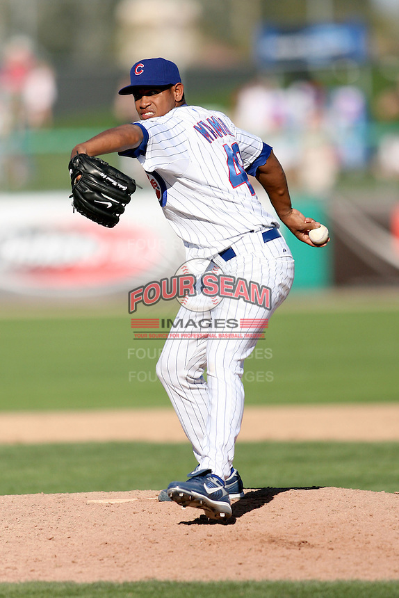 February 29, 2008: Carlos Marmol of the Chicago Cubs at Hohokam Park during spring training in Mesa, AZ. Photo by:  Chris Proctor/Four Seam Images