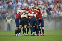 The US Men's Team huddle before playing Latvia at Rentschler Field, East Hartford, CT, May 28, 2006. The USA won 1-0.