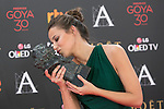 Spanish actress Irene Escolar poses with Best Actress Goya award during 30th Goya Awards ceremony in Madrid, Spain. February 06, 2016. (ALTERPHOTOS/Victor Blanco)