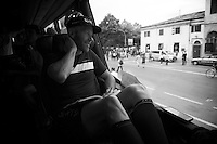 veteran Svein Tuft (CAN/Orica-GreenEDGE) during the pre-stage team meeting on the Orica-GreenEDGE teambus<br /> <br /> stage 19: Pinerolo(IT) - Risoul(FR) 162km<br /> 99th Giro d'Italia 2016