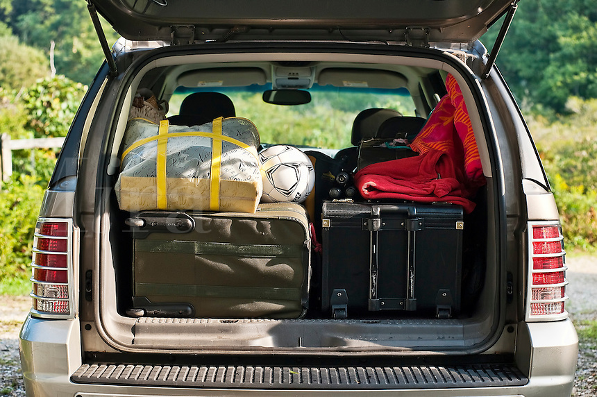 SUV packed for vacation.