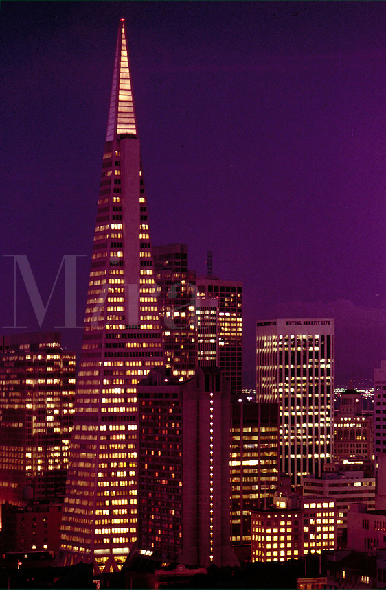 Evening in Downtown San Francisco showing the Transamerica Building. skyline, cityscape. San Francisco California.