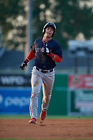 Lowell Spinners Nick Decker (21) rounds the bases after a home run by Wil Dalton (not shown) during a NY-Penn League game against the Batavia Muckdogs on July 10, 2019 at Dwyer Stadium in Batavia, New York.  Batavia defeated Lowell 8-6.  (Mike Janes/Four Seam Images)