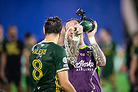 LAKE BUENA VISTA, FL - AUGUST 11: Diego Valeri #8 of the Portland Timbers celebrates a victory after a game between Orlando City SC and Portland Timbers at ESPN Wide World of Sports on August 11, 2020 in Lake Buena Vista, Florida.