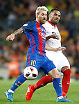 FC Barcelona's Leo Messi (l) and Sevilla FC's Gabriel Mercado during Supercup of Spain 2nd match.August 17,2016. (ALTERPHOTOS/Acero)