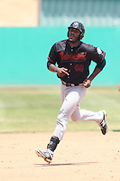 Austin Wilson (40) of the Bakersfield Blaze runs the bases during a game against the High Desert Mavericks at Mavericks Stadium on May 18, 2015 in Adelanto, California. High Desert defeated Bakersfield, 7-6. (Larry Goren/Four Seam Images)