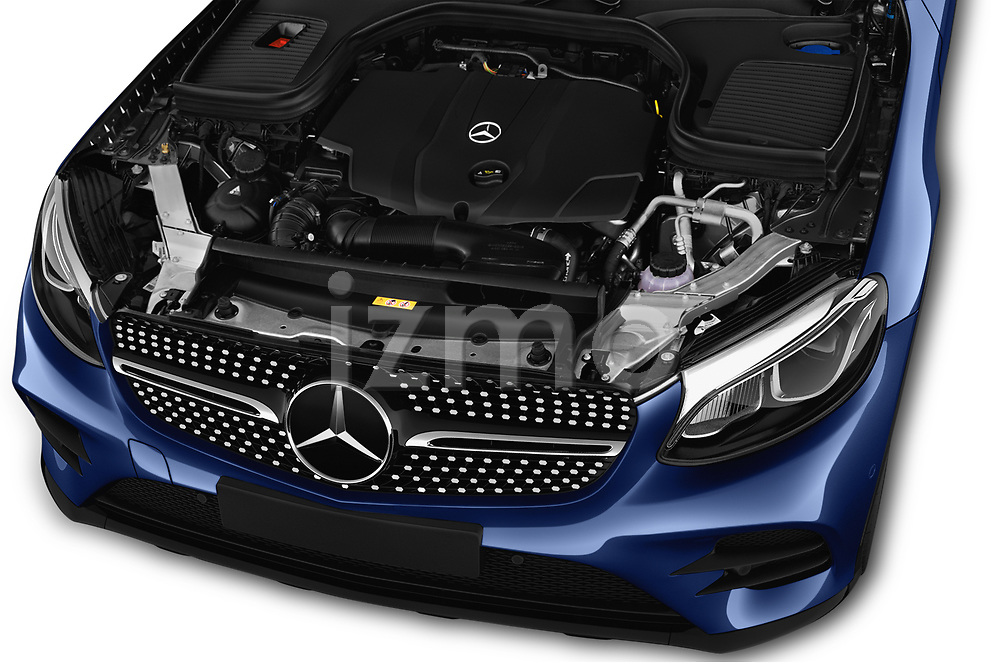 Car Stock 2017 Mercedes Benz GLC-Coupe 300-4MATIC 5 Door SUV Engine  high angle detail view