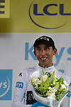 Egan Bernal (COL) Team Ineos retains the young riders White Jersey at the end of Stage 11 of the 2019 Tour de France running 167km from Albi to Toulouse, France. 17th July 2019.<br /> Picture: Colin Flockton   Cyclefile<br /> All photos usage must carry mandatory copyright credit (© Cyclefile   Colin Flockton)