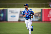 Tennessee Smokies outfielder Brennen Davis (21) on defense against the Rocket City Trash Pandas at Smokies Stadium on July 2, 2021, in Kodak, Tennessee. (Danny Parker/Four Seam Images)