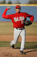 April 5, 2009:  /p/ Morgan Coombs (19) of the Ball State Cardinals during a game at Amherst Audubon Field in Buffalo, NY.  Photo by:  Mike Janes/Four Seam Images