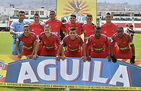 TUNJA - COLOMBIA - 18 - 03 - 2018: Los jugadores Patriotas F. C.,  posan para una foto durante partido entre Patriotas FC y Envigado F. C., de la fecha 9 por la Liga de Aguila I 2018 en el estadio La Independencia en la ciudad de Tunja. / The players of  Patriotas F. C., pose for a photo during a match between Patriotas F. C. and Envigado F. C., of the 9th date for the Liga de Aguila I 2018 at La Independencia stadium in Tunja city. Photo: VizzorImage  /  Jose Miguel Palencia / Cont.