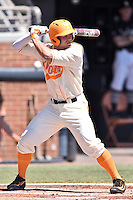 Tennessee Volunteers shortstop Nick Senzel (13) awaits a pitch during a game against the Vanderbilt Commodores at Lindsey Nelson Stadium on April 24, 2016 in Knoxville, Tennessee. The Volunteers defeated the Commodores 5-3. (Tony Farlow/Four Seam Images)
