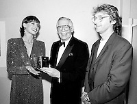 July 19,  1991 File Photo <br /> <br /> <br />  - Milton Berle honored at Montreal 1991 Just For Laugh Festival ,backstage photo with Gilbert Rozon, JFL President (R) and Mary Tyler Moore (L)