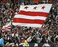 Fans of D.C. United during wave the District of Colombia flag an MLS match against the Chicago Fire on April 17 2010, at RFK Stadium in Washington D.C. Fire won 2-0.