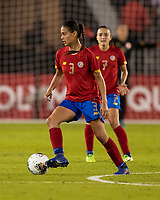 HOUSTON, TX - FEBRUARY 03: Maria Coto #3 of Costa Rica dribbles with the ball during a game between Costa Rica and USWNT at BBVA Stadium on February 03, 2020 in Houston, Texas.