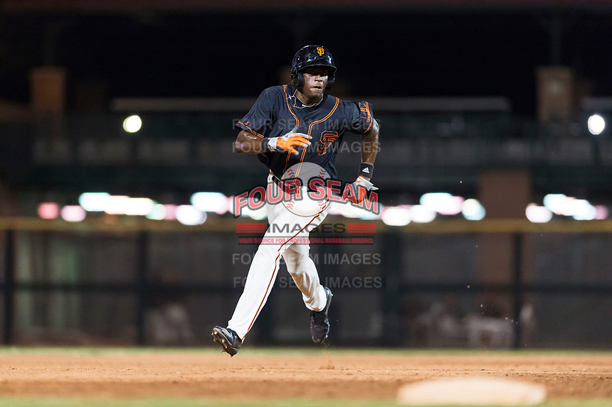 AZL Giants Black left fielder Kwan Adkins (8) hustles towards third base during an Arizona League game against the AZL Rangers at Scottsdale Stadium on August 4, 2018 in Scottsdale, Arizona. The AZL Giants Black defeated the AZL Rangers by a score of 6-3 in the second game of a doubleheader. (Zachary Lucy/Four Seam Images)