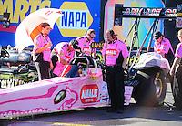 Oct. 14, 2011; Chandler, AZ, USA; NHRA crew members for top fuel dragster driver Terry McMillen during qualifying at the Arizona Nationals at Firebird International Raceway. Mandatory Credit: Mark J. Rebilas-