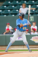 Luis Sardinas (23) of the Myrtle Beach Pelicans at bat against the Winston-Salem Dash at BB&T Ballpark on May 15, 2013 in Winston-Salem, North Carolina.  The Pelicans defeated the Dash 9-2.  (Brian Westerholt/Four Seam Images)