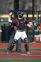 Iona Gaels catcher Alex Beckett (18) throws the ball back to his pitcher during the game against the Rutgers Scarlet Knights at City Park on March 8, 2017 in New Rochelle, New York.  The Scarlet Knights defeated the Gaels 12-3.  (Brian Westerholt/Four Seam Images)