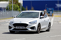 Pictured: A worker waves as he leaves the Ford engine plant in Bridgend, Wales, UK. Thursday 06 June 2019<br /> Re: An announcement on the proposed closure of Ford's Bridgend plant will be made today (Thursday).<br /> Ford Europe and bosses from the United States will meet union leaders at its Essex headquarters.<br /> The plant employs 1,700 workers from across south Wales.