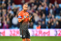 Mike van der Hoorn of Swansea City applauds the fans at the final whistle of the Sky Bet Championship match between Aston Villa and Swansea City at Villa Park in Birmingham, England, UK.  Saturday 20 October  2018