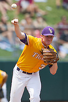 LSU Tigers starting pitcher Ryan Eades (37) makes a pickoff throw to first base against the Texas A&M Aggies in the NCAA Southeastern Conference baseball game on May 11, 2013 at Blue Bell Park in College Station, Texas. LSU defeated Texas A&M 2-1 in extra innings to capture the SEC West Championship. (Andrew Woolley/Four Seam Images).