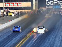 Jul 30, 2016; Sonoma, CA, USA; NHRA funny car driver Tim Gibbons (right) races alongside Gary Densham during qualifying for the Sonoma Nationals at Sonoma Raceway. Mandatory Credit: Mark J. Rebilas-USA TODAY Sports