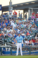 Omaha Storm Chasers Bobby Witt Jr. (7) leads off third base during a game against the Iowa Cubs on August 14, 2021 at Werner Park in Omaha, Nebraska. (Zachary Lucy/Four Seam Images)