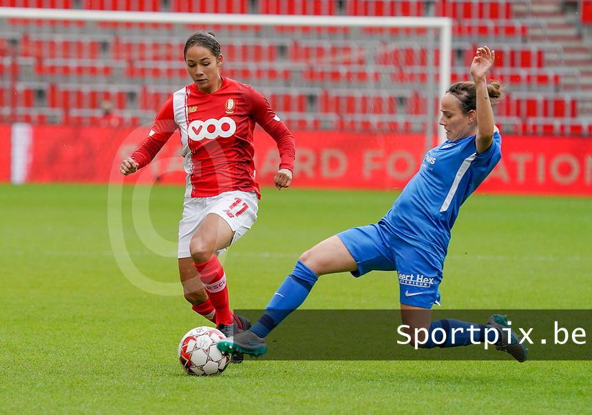 Standard's Lola Wajnblum (11) and Genk's xxx in action during a female soccer game between Standard Femina de Liege and KRC Genk Ladies  on the third matchday of the 2020 - 2021 season of Belgian Womens Super League , Saturday 3 rd of October 2020  in Liege , Belgium . PHOTO SPORTPIX.BE | SPP | SEVIL OKTEM