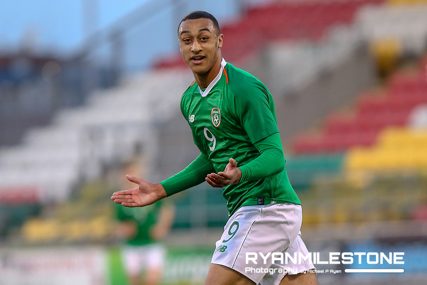 UEFA U21 European Championship Qualifier<br /> Rep of Ireland v Luxembourg<br /> Sunday 24th March 2019,<br /> Tallaght Stadium, Dublin.<br /> Adam Idah of Republic of Ireland celebrates after scoring the third goal of the game.<br /> Mandatory Credit: Michael P Ryan