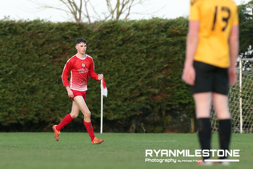 Keane Hayes of Two Mile Borris celebrates after scoring his sides 3rd goal during the Tipperary Cup 1st Round game between Two Mile Borris and Clonmel Town  on Sunday 9th December 2018 at Newhill, Two Mile Borris Co Tipperary. Mandatory Credit: Michael P Ryan.