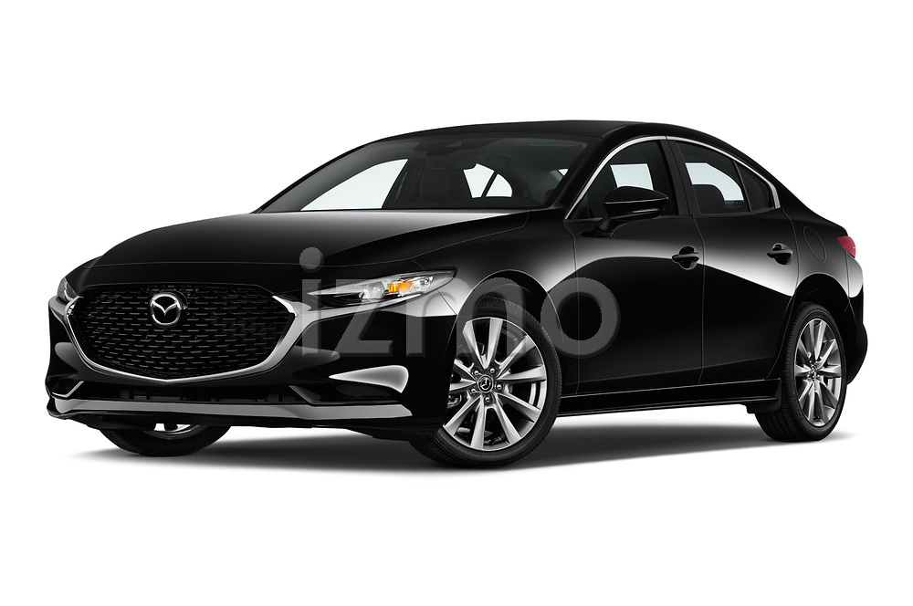 Stock pictures of low aggressive front three quarter view of 2019 Mazda Mazda-3 Preferred-Package 4 Door Sedan Low Aggressive