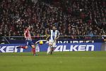 Atletico de Madrid's Diego Godin and RCD Espanyol's Borja Iglesias during La Liga match between Atletico de Madrid and RCD Espanyol at Wanda Metropolitano Stadium in Madrid, Spain. December 22, 2018. (ALTERPHOTOS/A. Perez Meca)