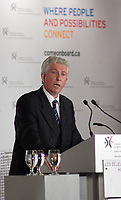 Montreal (Qc) CANADA - Sept 24 2008 -<br /> <br /> Gilles Duceppe, leader Bloc Quebecois adress the Montreal Board of Trade members, during ther Federal Election Campaign. THe Canadian elections will b held October 14, 2008.