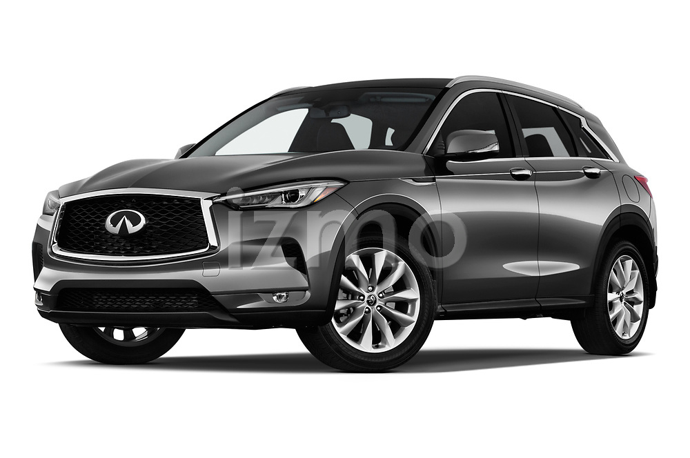 Stock pictures of low aggressive front three quarter view of a 2019 Infiniti QX50 LUXE AWD 5 Door SUV