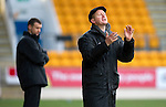 St Johnstone v Dunfermline....25.02.12   SPL.Steve Lomas applauds his players.Picture by Graeme Hart..Copyright Perthshire Picture Agency.Tel: 01738 623350  Mobile: 07990 594431