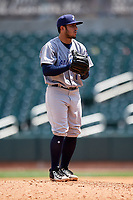 Pensacola Blue Wahoos relief pitcher Alberti Chavez (16) gets ready to deliver a pitch during a game against the Birmingham Barons on May 9, 2018 at Regions Field in Birmingham, Alabama.  Birmingham defeated Pensacola 16-3.  (Mike Janes/Four Seam Images)
