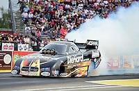 Sept. 30, 2012; Madison, IL, USA: NHRA funny car driver Matt Hagan during the Midwest Nationals at Gateway Motorsports Park. Mandatory Credit: Mark J. Rebilas-
