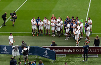 The England players applaud Marcus Smith (Harlequins) of England after he was called up to represent the British and Irish Lions on their tour in South Africa during the Autumn International match between England and Canada at Twickenham Stadium, London, England on 10 July 2021. Photo by Liam McAvoy.