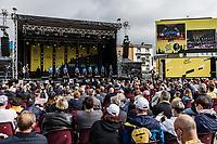 Team Movistar at the pre Tour teams presentation of the 108th Tour de France 2021 in Brest at le Grand Départ.