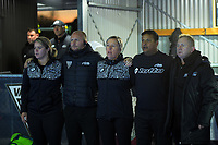 The coaching staff sing the national anthems during the Sentinel Homes Trans Tasman Series hockey match between the New Zealand Black Sticks Women and the Australian Hockeyroos at Massey University Hockey Turf in Palmerston North, New Zealand on Tuesday, 1 June 2021. Photo: Dave Lintott / lintottphoto.co.nz
