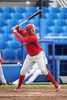 GCL Phillies right fielder Jhailyn Ortiz (13) at bat during the first game of a doubleheader against the GCL Blue Jays on August 15, 2016 at Florida Auto Exchange Stadium in Dunedin, Florida.  GCL Phillies defeated the GCL Blue Jays 7-5 in a completion of a game started on July 30th.  (Mike Janes/Four Seam Images)
