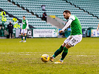 6th February 2021; Easter Road, Edinburgh, Scotland; Scottish Premiership Football, Hibernian versus Aberdeen; Martin Boyle of Hibernian scores the opening goal from the penalty spot in the 27th minute