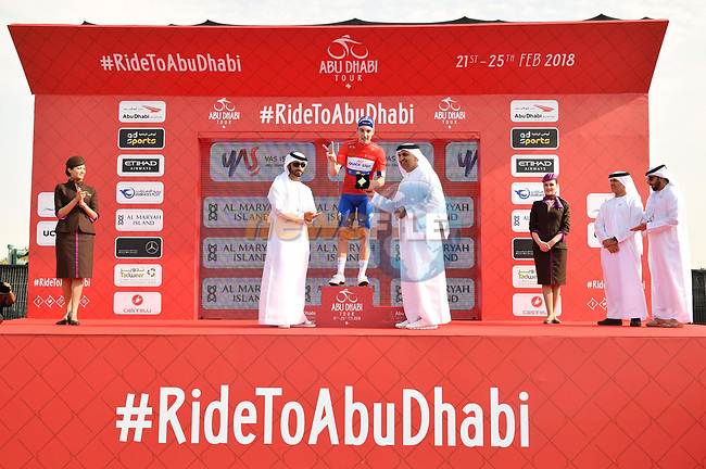 Elia Viviani (ITA) Quick-Step Floors wins Stage 2 and takes over the race leaders Red Jersey of the 2018 Abu Dhabi Tour, Yas Island Stage running 154km from Yas Mall to Yas Beach, Abu Dhabi, United Arab Emirates. 22nd February 2018.<br /> Picture: LaPresse/Massimo Paolone   Cyclefile<br /> <br /> <br /> All photos usage must carry mandatory copyright credit (© Cyclefile   LaPresse/Massimo Paolone)