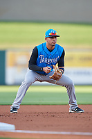 Tampa Tarpons third baseman Angel Aguilar (7) during a game against the Lakeland Flying Tigers on April 6, 2018 at Publix Field at Joker Marchant Stadium in Lakeland, Florida.  Lakeland defeated Tampa 6-5.  (Mike Janes/Four Seam Images)