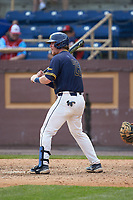 Ryne Stanley (25) of the North Carolina A&T Aggies at bat against the North Carolina Central Eagles at Durham Athletic Park on April 10, 2021 in Durham, North Carolina. (Brian Westerholt/Four Seam Images)