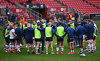 30th September 2020; Ashton Gate Stadium, Bristol, England; Premiership Rugby Union, Bristol Bears versus Leicester Tigers; Pat Lam of Bristol Bears gives last minute instructions in the Bristol Bears huddle