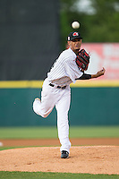 Hickory Crawdads starting pitcher Jonathan Hernandez (33) in action against the Rome Braves at L.P. Frans Stadium on May 12, 2016 in Hickory, North Carolina.  The Braves defeated the Crawdads 3-0.  (Brian Westerholt/Four Seam Images)