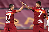 Henrikh Mkhitaryan of AS Roma celebrates with Lorenzo Pellegrini after scoring the goal of 3-1 during the Serie A football match between AS Roma and Benevento Calcio at Olimpico stadium in Roma (Italy), October 18th, 2020. The goal was cancelled by VAR.  Photo Antonietta Baldassarre / Insidefoto