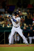 Bowling Green Hot Rods center fielder Carl Chester (9) at bat during a game against the Peoria Chiefs on September 15, 2018 at Bowling Green Ballpark in Bowling Green, Kentucky.  Bowling Green defeated Peoria 6-1.  (Mike Janes/Four Seam Images)